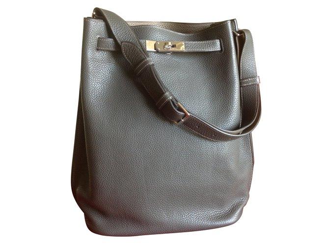 a67817f8cdff Hermès So Kelly Handbags Leather Dark grey ref.42907 - Joli Closet