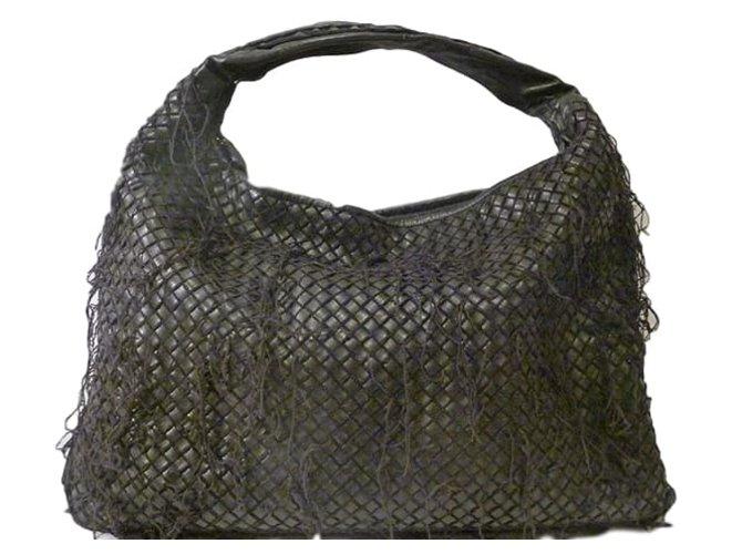 Bottega Veneta Fringe Netted Intrecciato Large Hobo Bag Handbags Leather Black Ref 42936