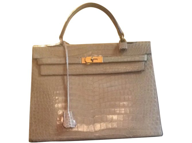 Hermès Kelly 35 vintage crocodile Handbags Exotic leather Beige ref.43089 6bbaa0a1edf6