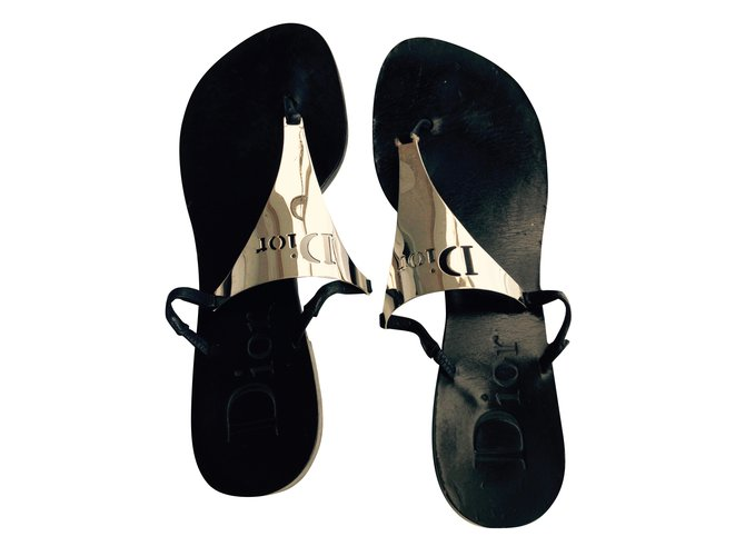 1b43cfa659cab Christian Dior Sandals Sandals Leather Black ref.43100 - Joli Closet