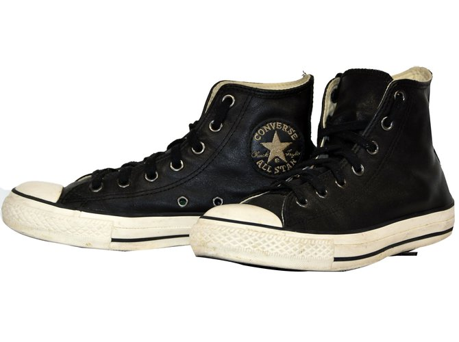 b7f07ff65a5a92 Converse CONVERSE ALL STAR CHUCK TAYLOR HI CUIR NOIR T.38 UK 5.5 Sneakers  Leather