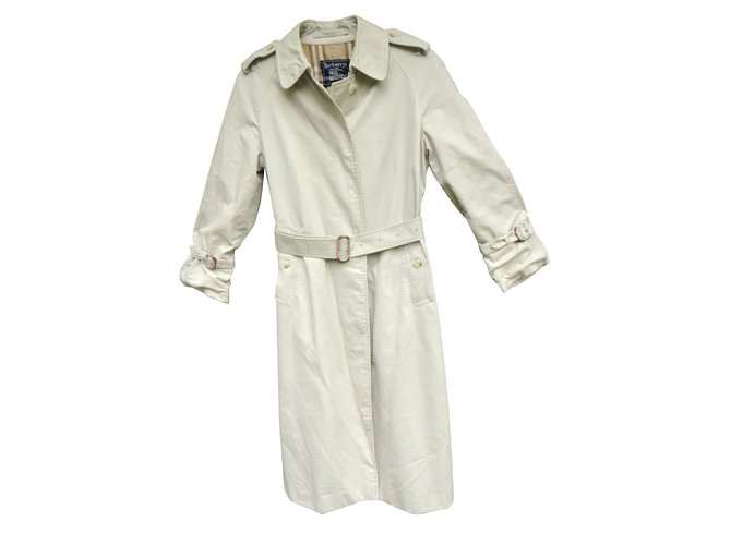 Burberry Trench coat Trench coats Cotton,Polyester Eggshell ref.43147