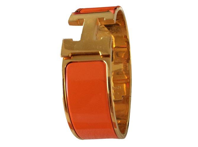 Bracelets Hermès Hermes bracelet clic,clac H Hermès Autre Orange ref.43172