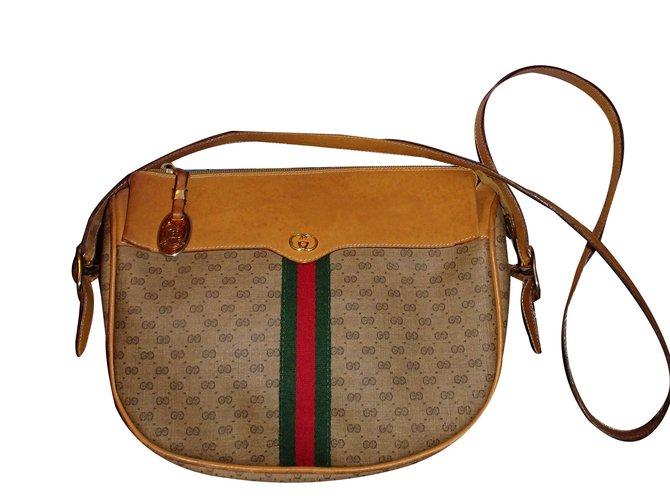 ef3f2c5d3468a2 Gucci Shoulder crossbody bag Handbags Leather Brown,Beige ref.43327 ...