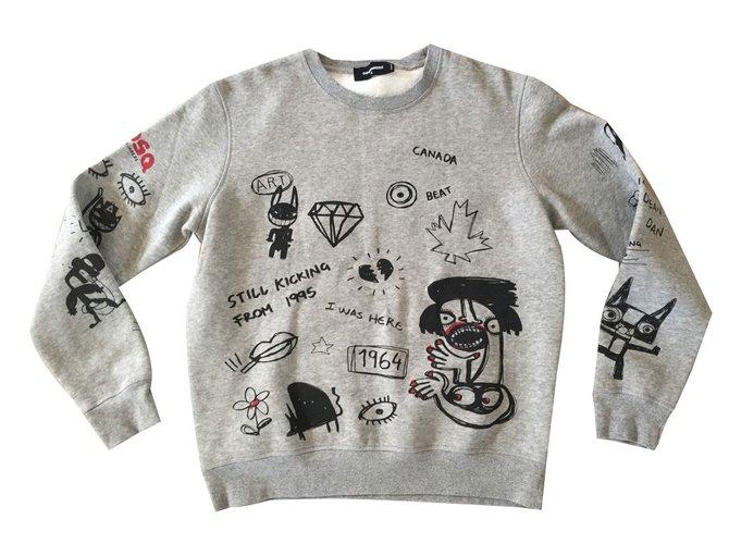 2641c7d7da Dsquared2 Sweater Sweaters Cotton Grey ref.43450 - Joli Closet