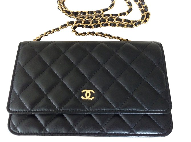 Sacs à main Chanel Wallet On Chain Cuir Noir ref.43455