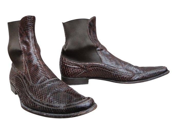 Bottes, boots Dolce   Gabbana Boots python Python Marron ref.43478 ... 6b887b923b67