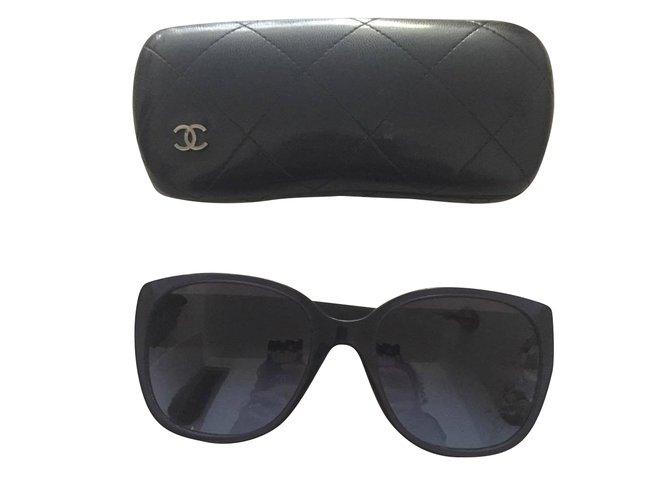 Lunettes Chanel Chanel Tweed Plastique,Tissu Bleu Marine ref.43487 ... 089cd047656b