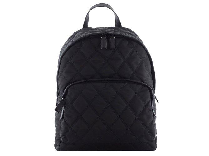 181063a86393 Prada Prada quilted backpack Backpacks Nylon Black ref.43492 - Joli ...