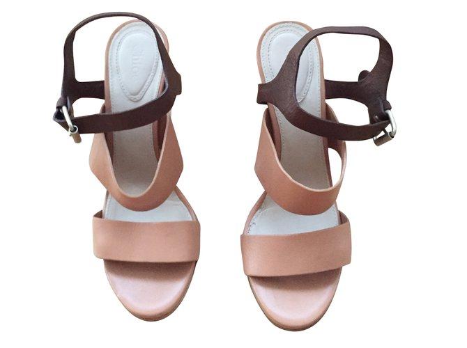 Chloé Sandals Sandals Leather Caramel ref.43505