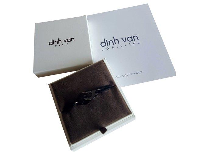92d028b43e9 Bracelets Dinh Van Bracelet sur cordon Menottes dinh van R12 argent plaqué  noir Argent Noir ref