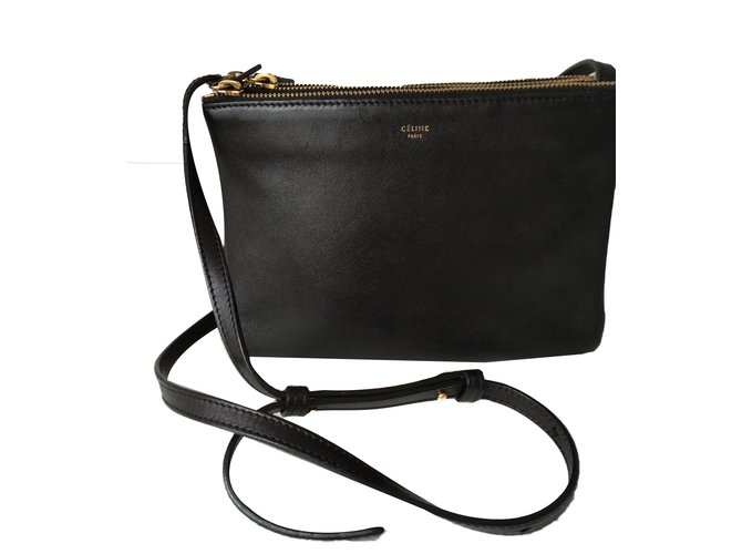 66b3ef867d3d Céline Celine trio bag in small Handbags Leather Black ref.43617 ...