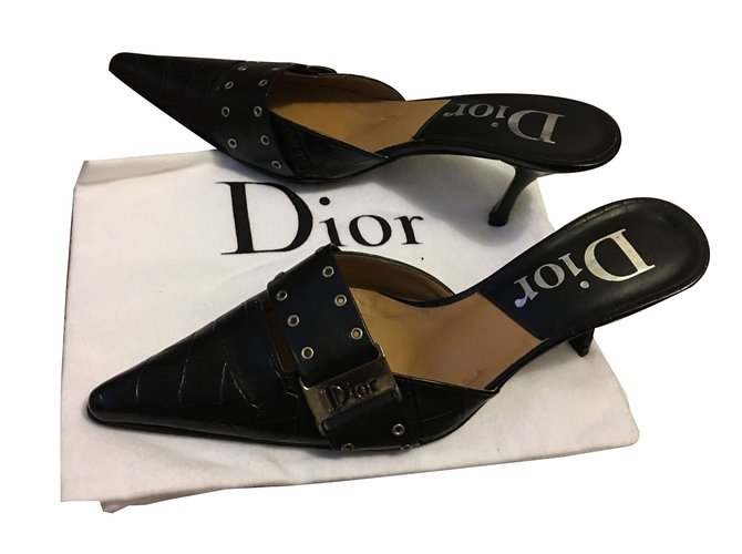 cd31cc80f35d2 Dior Sandals Sandals Leather Black ref.43655 - Joli Closet