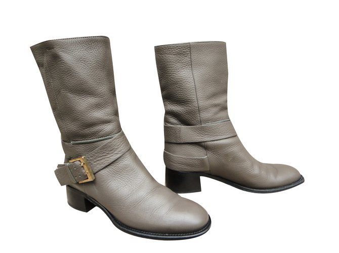 Chloé Ankle Boots Ankle Boots Leather Grey ref.43670