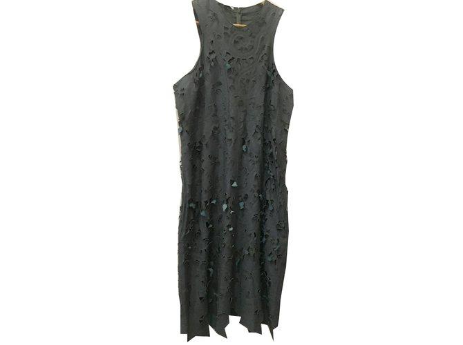 Carven Midi dress Dresses Leather Dark grey ref.43712 - Joli Closet