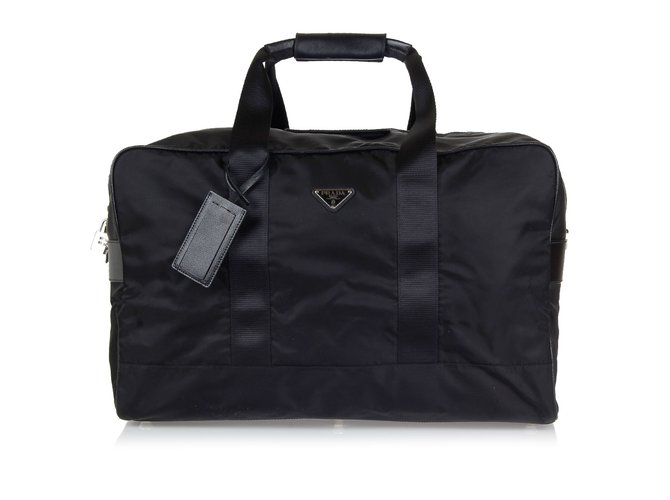 Prada Duffle Travel Bag New Bags Briefcases Nylon Black Ref 43724