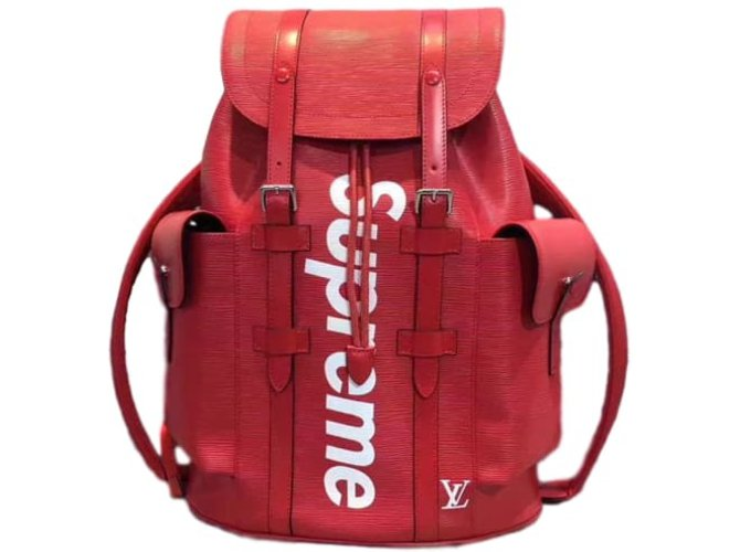 Autre Marque Louis Vuitton X Supreme Backpacks Leather Red Ref 43836