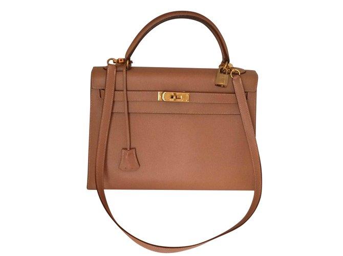 482998973c Sacs à main Hermès Superbe Kelly 32 sellier à bandoulière gold en cuir  Courchevel ! Cuir