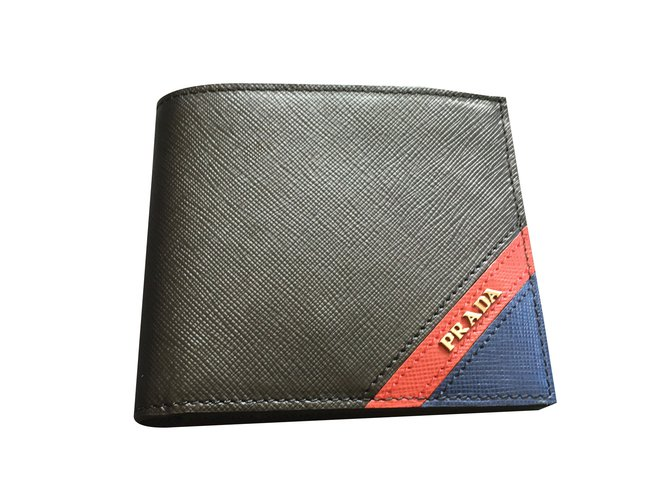 5dc05ba61289 Prada Prada saffiano wallet for men Wallets Small accessories Leather Black  ref.44004