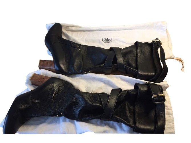 Chloé Boots Boots Leather Black ref.44013