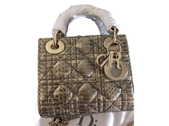 Dior Lady Dior mini Handbags Exotic leather Python print ref.44438