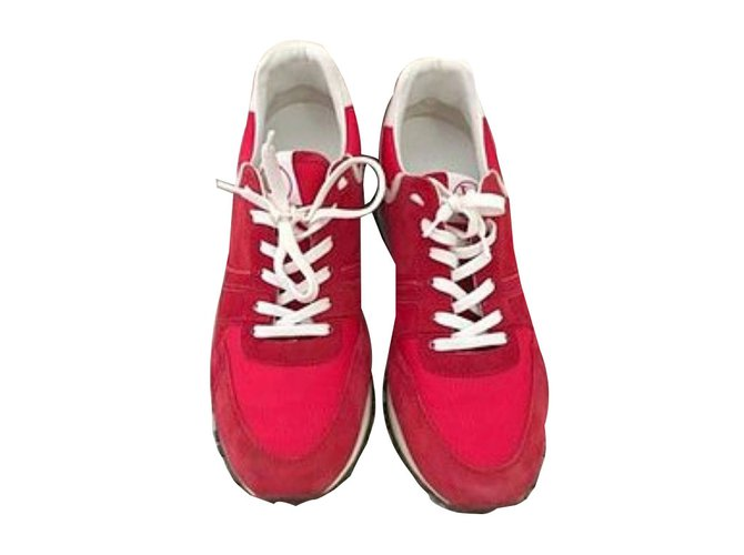 Louis Vuitton Sneakers Sneakers Suede White,Red ref.44539 - Joli Closet 1c3ff06ffa6