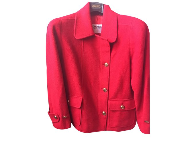 Chanel Jackets Jackets Wool Red ref.44716