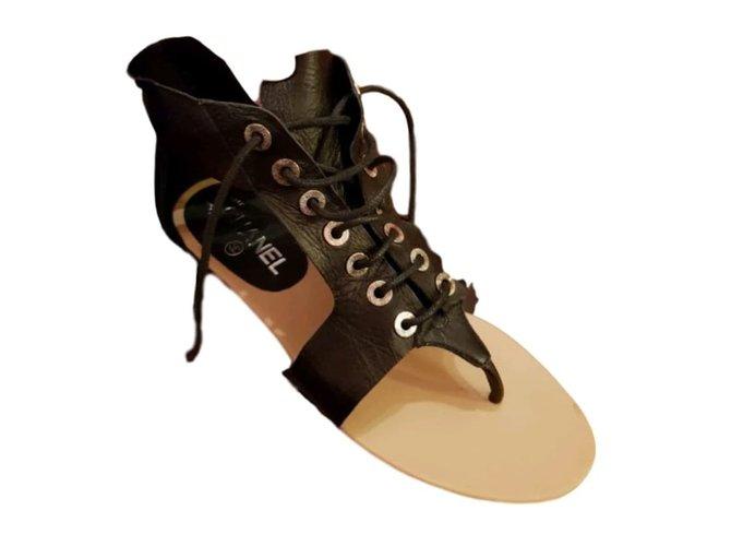 Chanel Sandals Black Leather  ref.44736