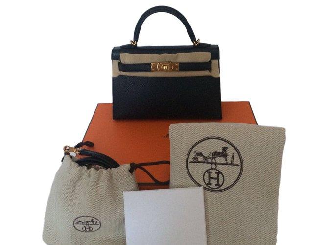 Sacs à main Hermès Kelly II Mini Cuir Noir ref.46072 - Joli Closet 049bbaa3382