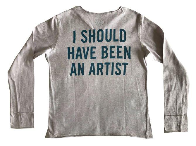 Tops fille Zadig & Voltaire T-shirt Coton Beige ref.44855