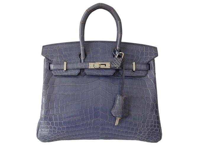 Sacs à main Hermès Birkin 25 Cuirs exotiques Bleu,Violet ref.44858
