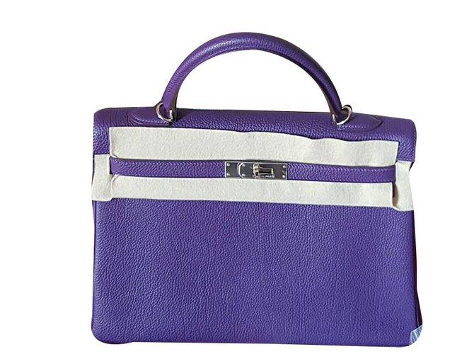 00fea81276e2 Hermès Hermes Kelly 35 Handbag Handbags Leather Purple ref.45125 ...