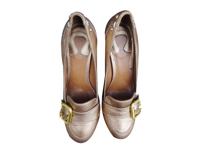 Chloé Heels Heels Leather Bronze ref.45159