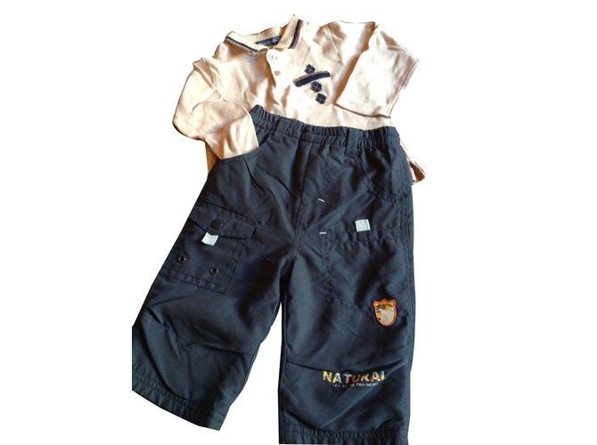 Les ensembles garçon Autre Marque Pantalons Coton,Polyester Bleu,Beige ref.45468