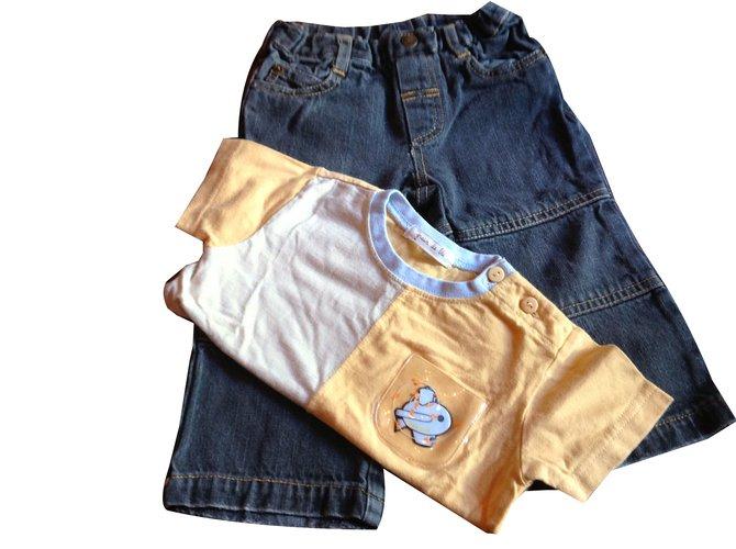 Autre Marque Pants Yellow Navy blue Cotton Denim  ref.45471