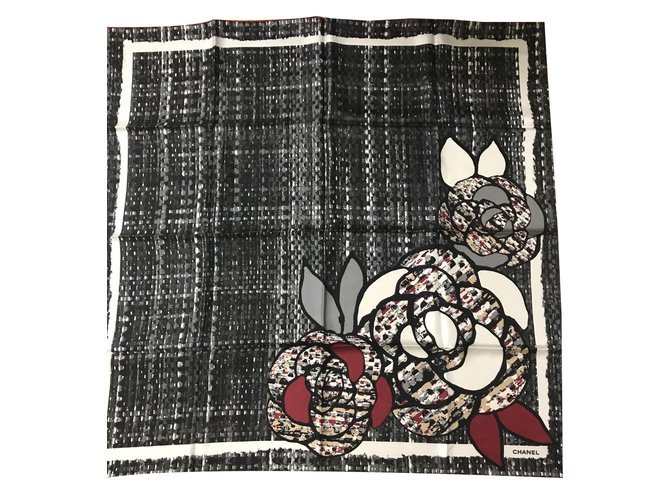 Chanel Scarves Scarves Silk Black ref.46054