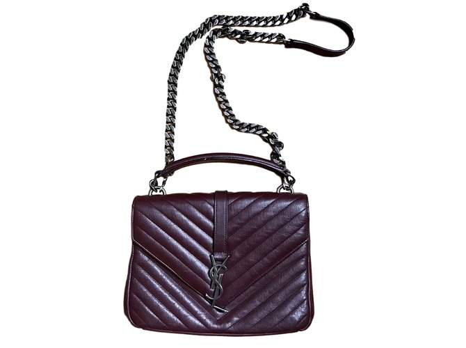 e3bb647f8d Saint Laurent saint laurent médium collège Handbags Leather Dark red  ref.46077