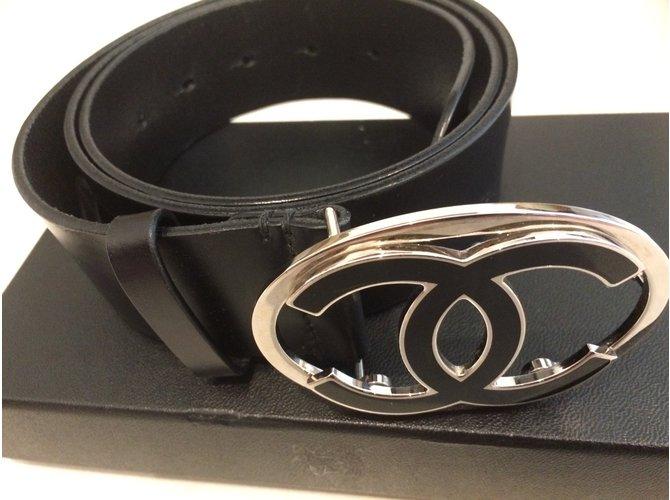 Ceintures Chanel ceinture mixte Chanel CC boucle argent et noire Autre  Autre ref.46102 0da33fe3e9f