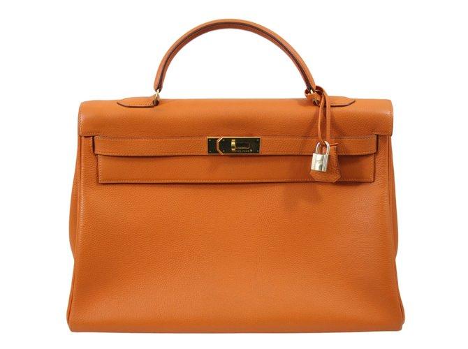 Sacs à main Hermès Sac à main Cuir Orange ref.46111