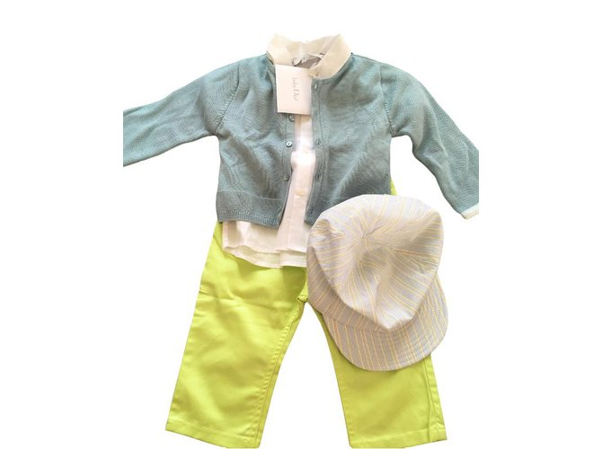 Baby Dior Outfits Outfits Cotton White,Green,Grey ref.46189