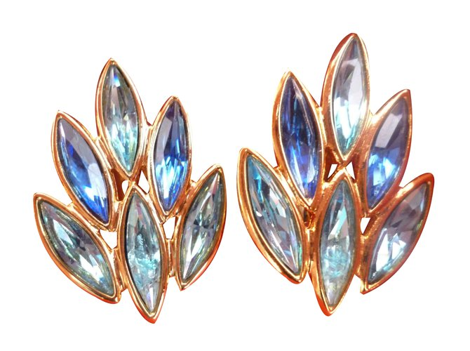 93dfd32be64 Yves Saint Laurent Earrings Earrings Gold-plated Blue ref.46238 ...