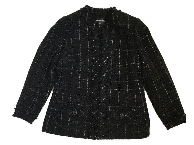 Chanel Jackets Jackets Tweed Black ref.46345