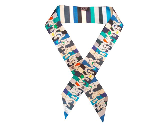 Foulards Hermès Twilly Soie Bleu ref.46550 - Joli Closet fa32443bb69