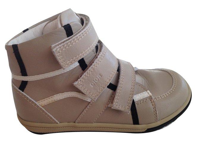 Baskets enfant Baby Dior Sneakers Baby Dior Cuir Noir,Beige ref.46674