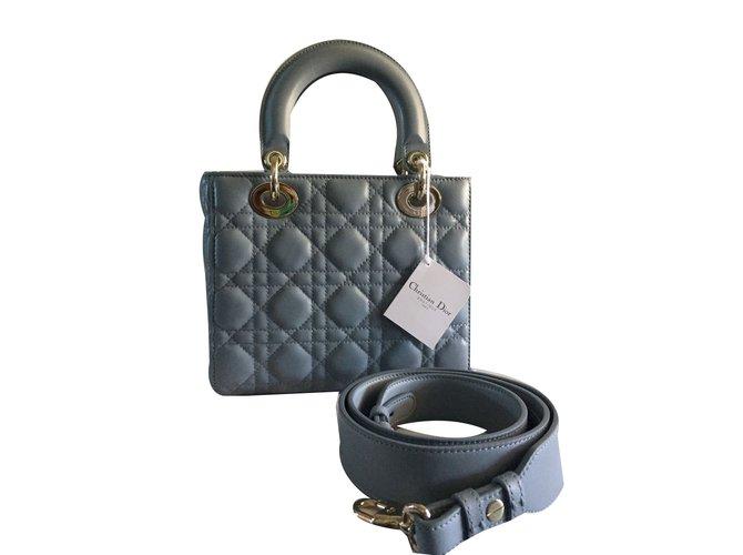 Christian Dior lady dior cloud blue Handbags Patent leather Blue ref.46735 db114fd117
