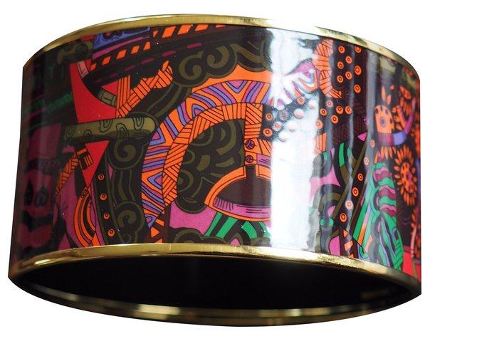 Bracelets Hermès BRACELET NEUF EMAIL  CONTOUR PLAQUE OR Plaqué or Multicolore ref.46754