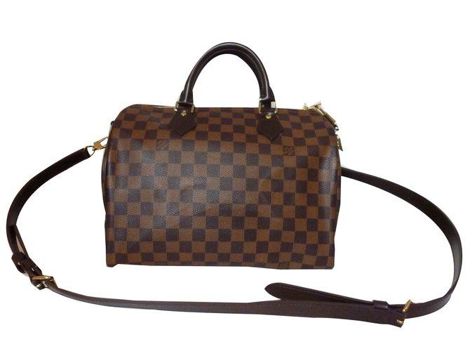 ff6c854653 Sacs à main Louis Vuitton Superbe Sac Louis Vuitton Speedy 30 à bandoulière  à damier ébène