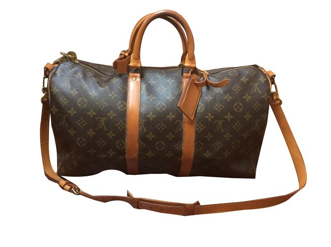 Sacs de voyage Louis Vuitton Keepall 45 Toile Marron ref.46847