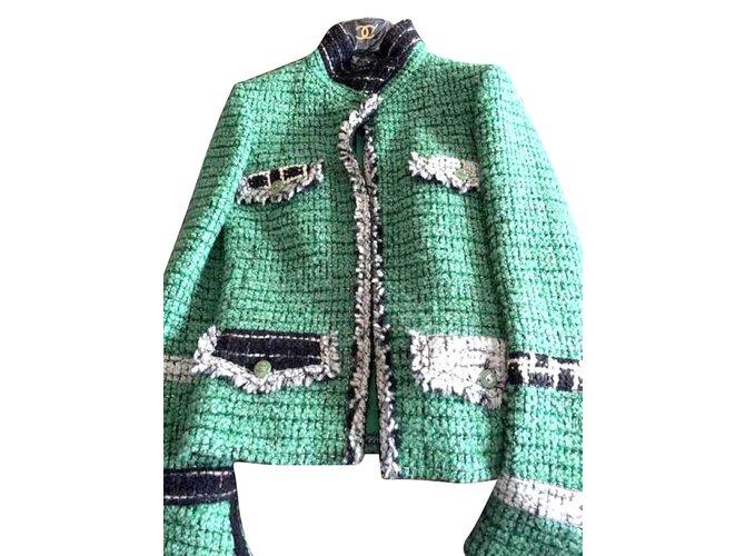 Vestes Chanel Vestes Tweed Vert ref.47029