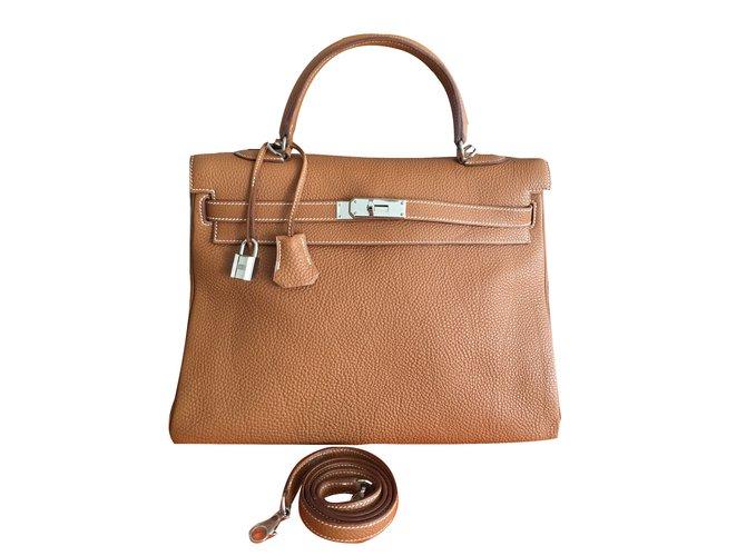Sacs à main Hermès Sac HERMES Kelly 35 cm Togo Gold Camel NEUF Cuir marron clair ref.47061